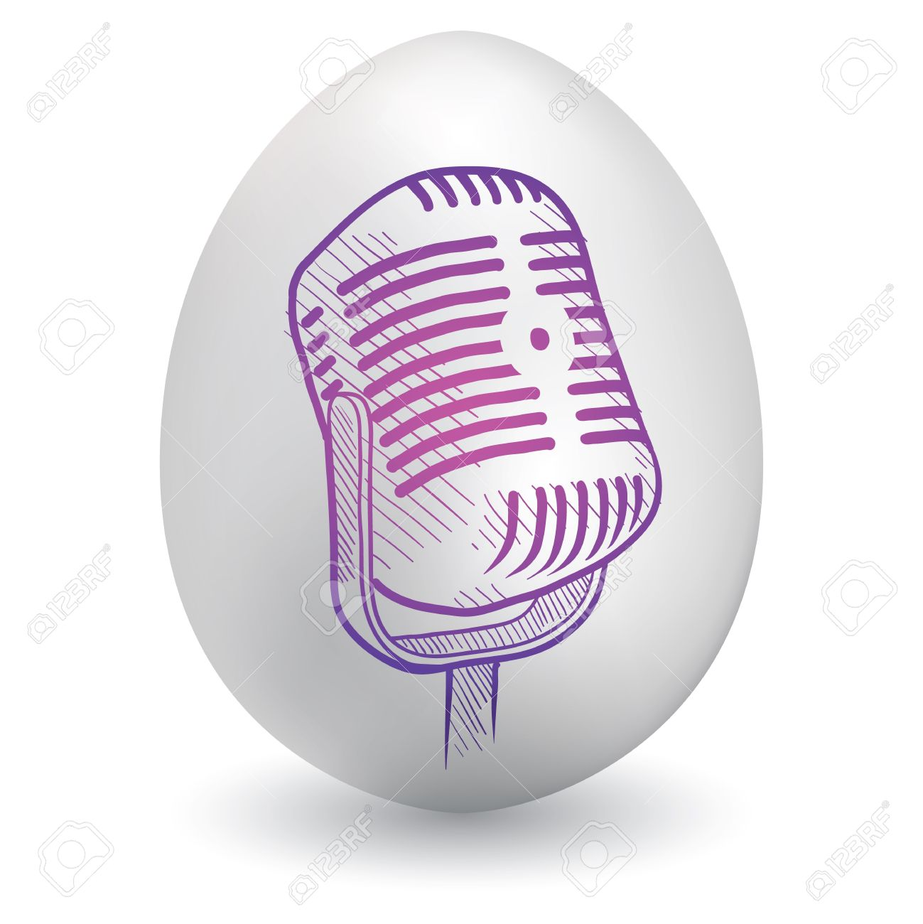 Doodle style retro radio microphone sketch on decorated holiday Easter Egg in vector format Stock Vector - 14460779