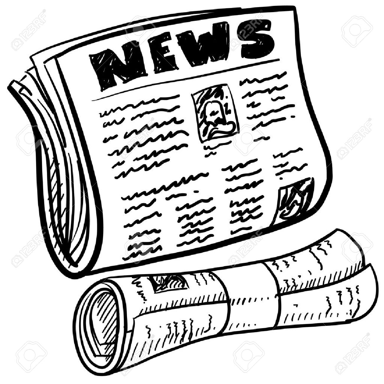 Doodle Style Newspaper Illustration In Vector Format Includes ...