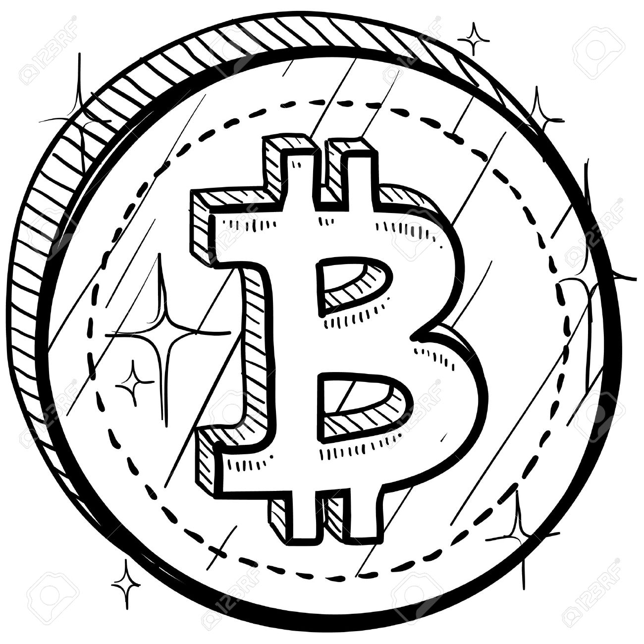 Doodle Style Coin With Currency Symbol Bitcoin Royalty Free
