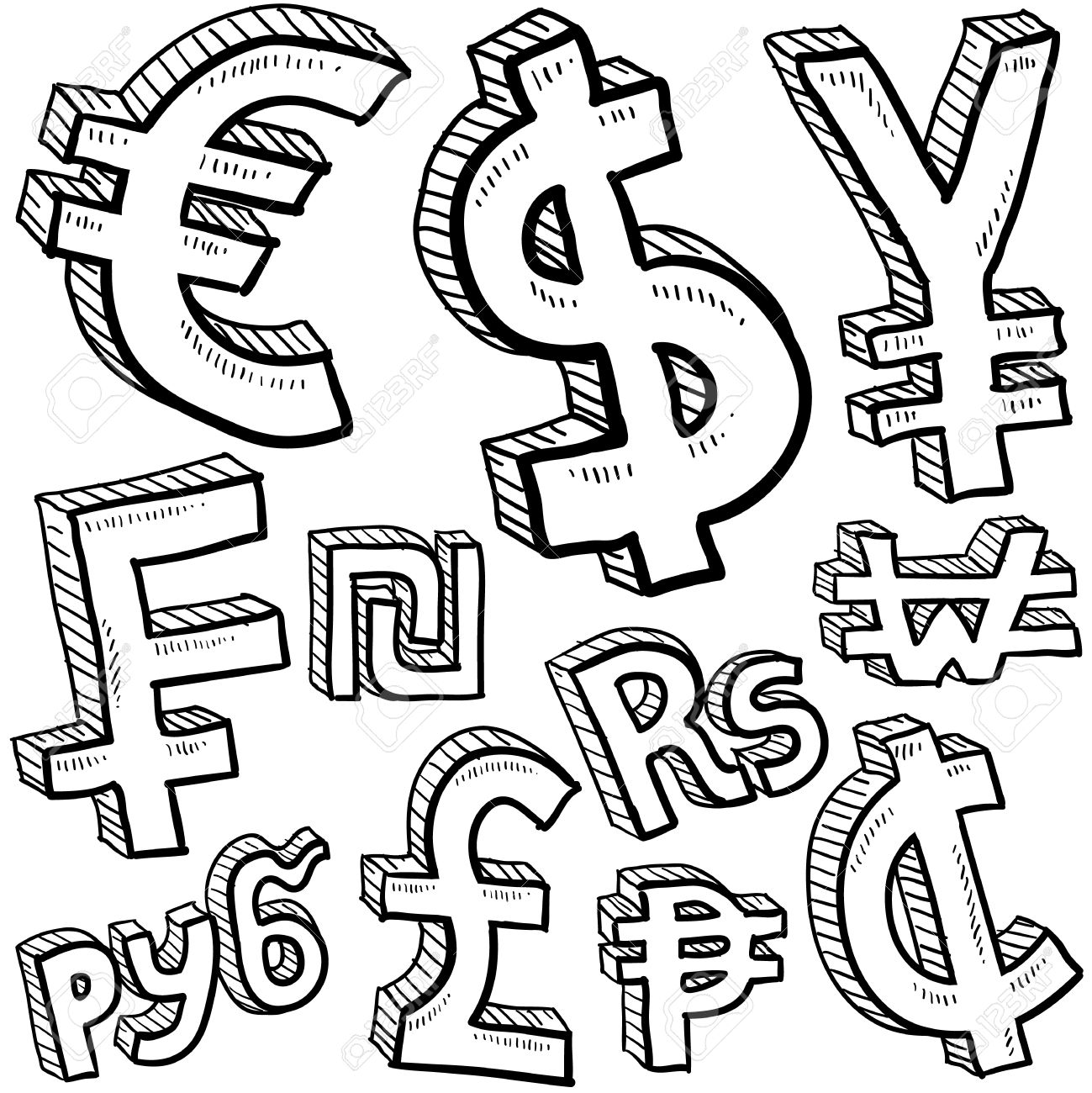 Doodle Style Coin With Currency Symbol Set Including Euro Dollar