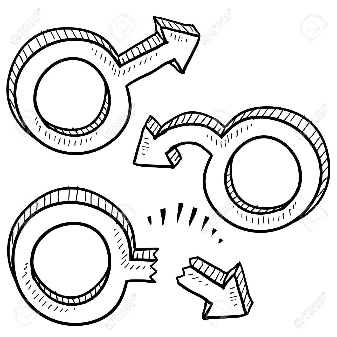 Doodle style male gender symbols in various states including virile, limp, and broken to indicate male ego or sexual performance Stock Vector - 14460849
