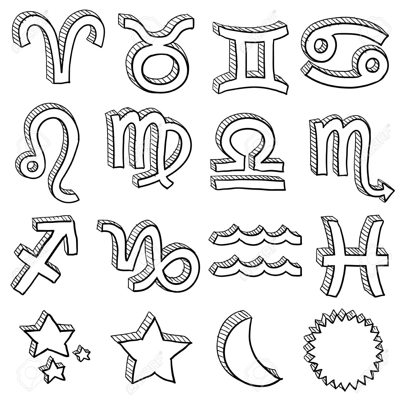 Doodle style zodiac astrology symbol set including all twelve horoscope insignia Stock Vector - 14460872