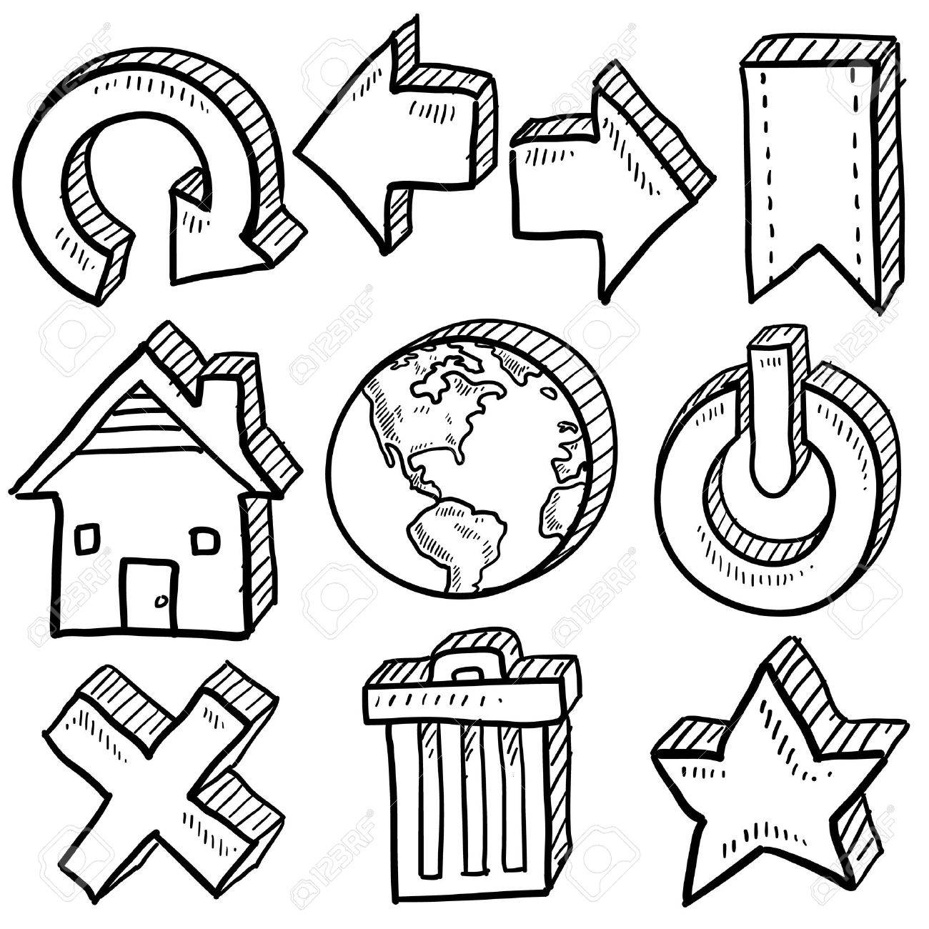 Doodle style internet symbol set that includes arrows, refresh, home, trash, close, favorite, and power icons Stock Vector - 14460869