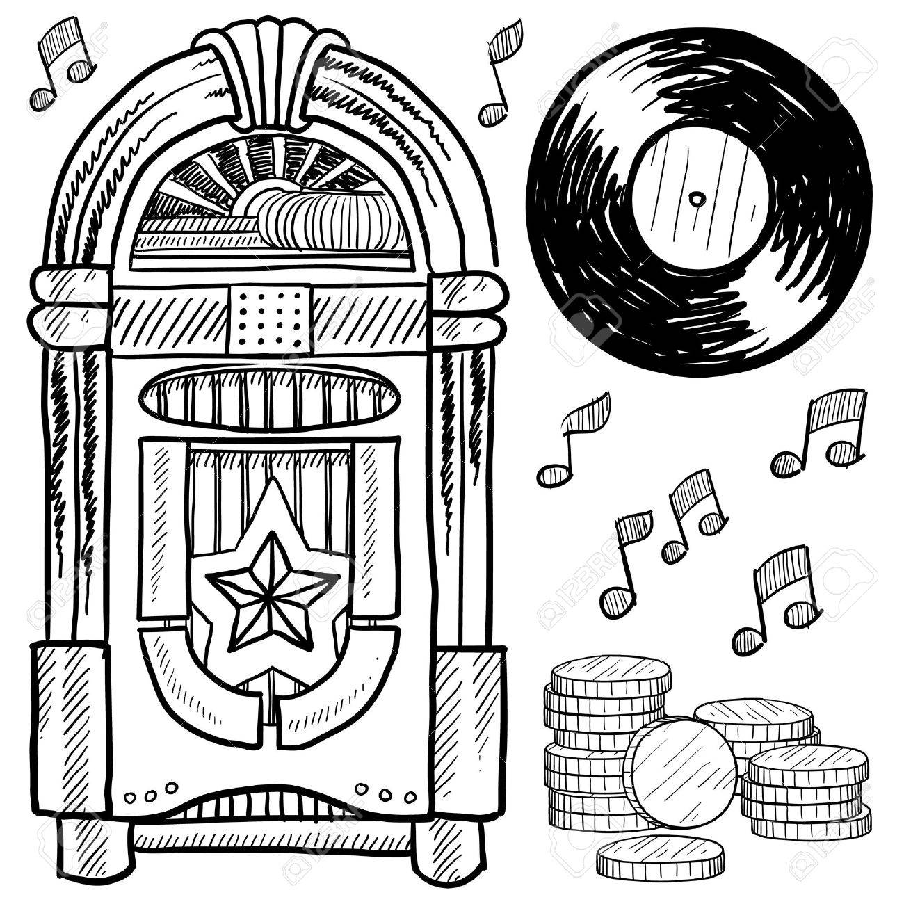 Doodle style retro jukebox with vinyl record, coins, and musical