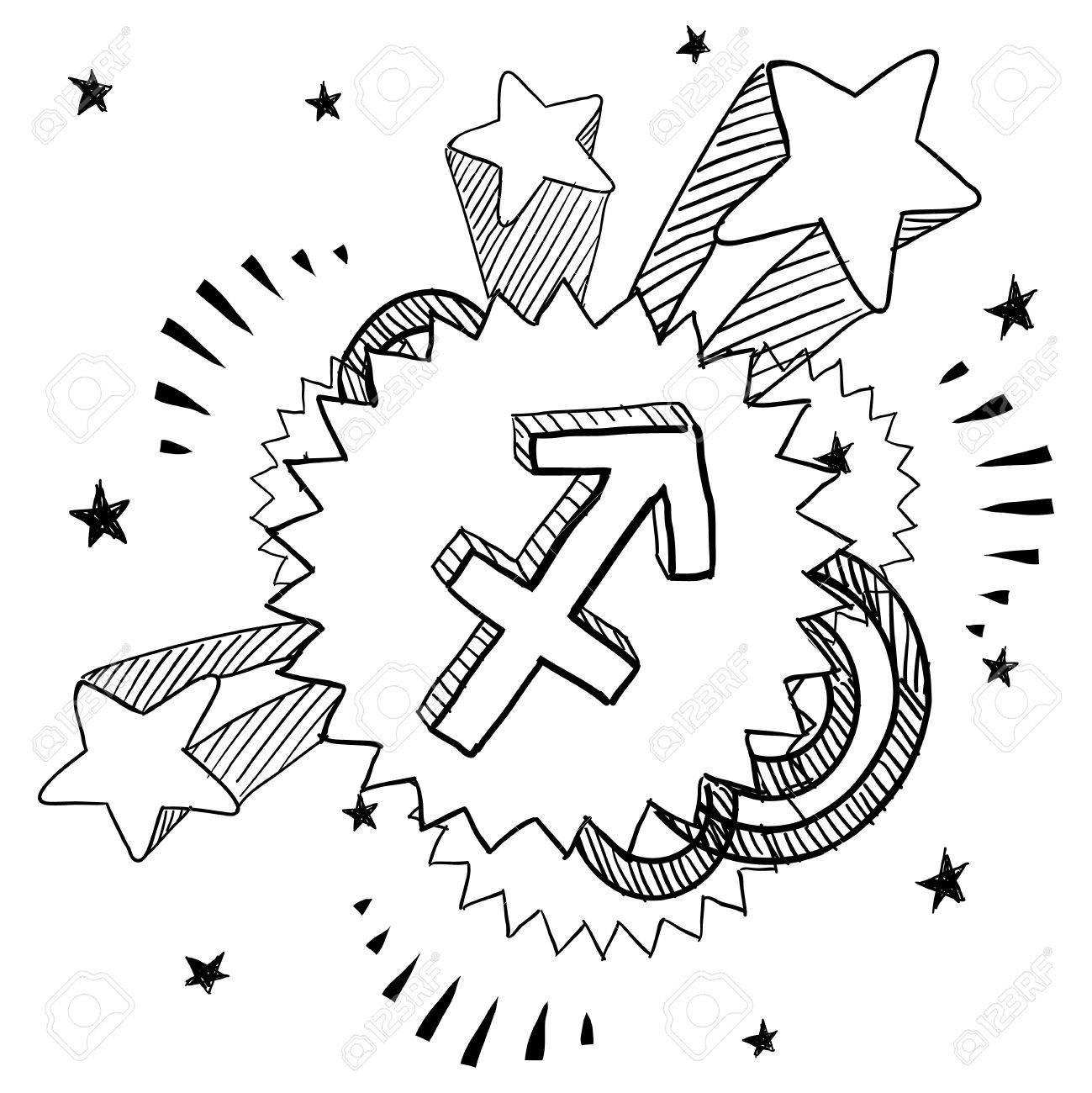 Doodle style zodiac astrology symbol on 1960s or 1970s pop doodle style zodiac astrology symbol on 1960s or 1970s pop explosion background sagittarius stock vector buycottarizona