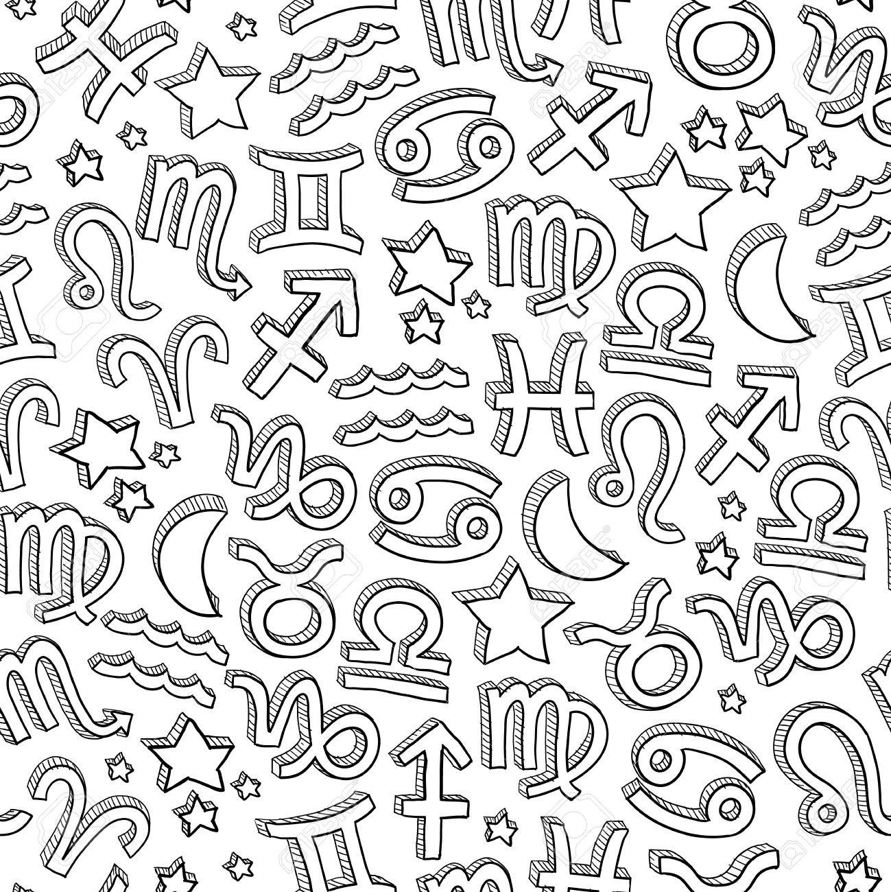 Doodle style seamless tiled zodiac astrology symbol background in vector format Stock Vector - 14494801