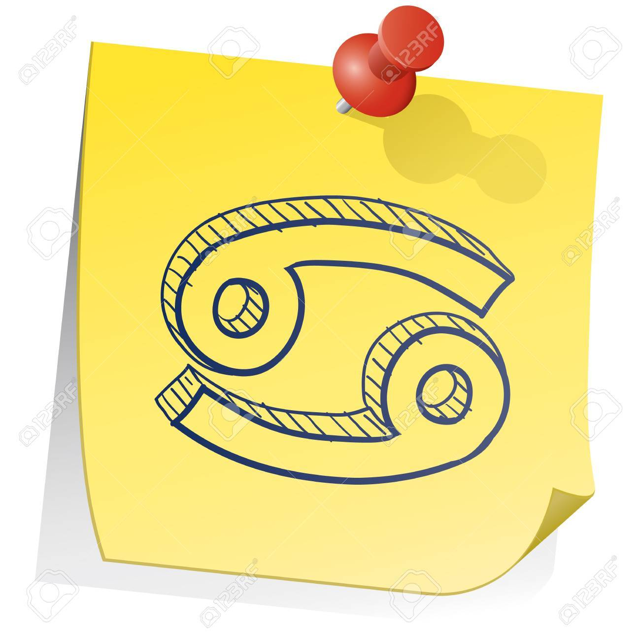 Doodle Style Zodiac Astrology Symbol On Sticky Note Background