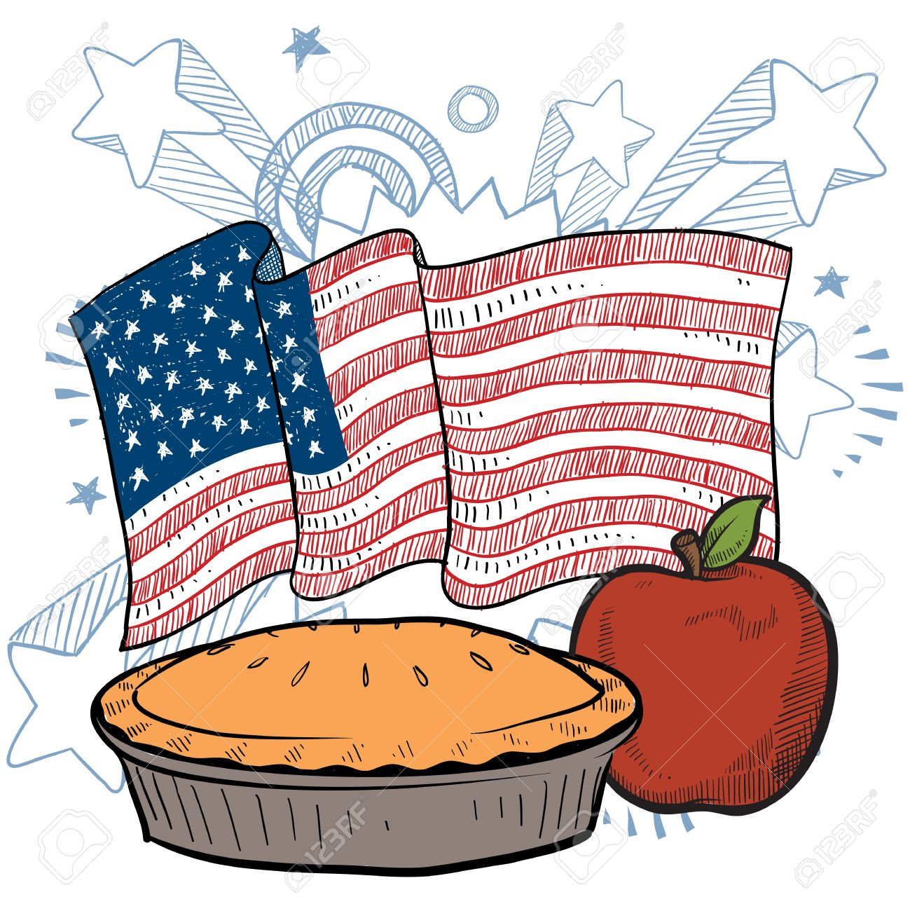 Doodle style colorful apple pie with American flag sketch in vector format Stock Vector - 14511788