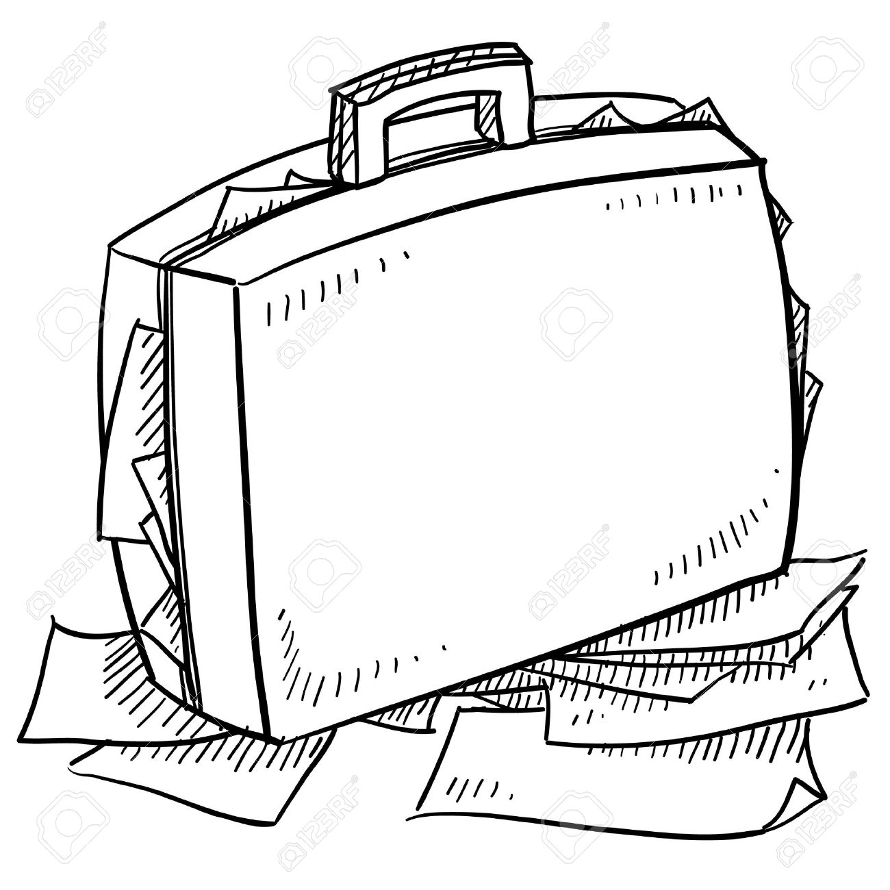 Doodle style office briefcase stuffed with papers sketch in vector format Stock Vector - 14559350