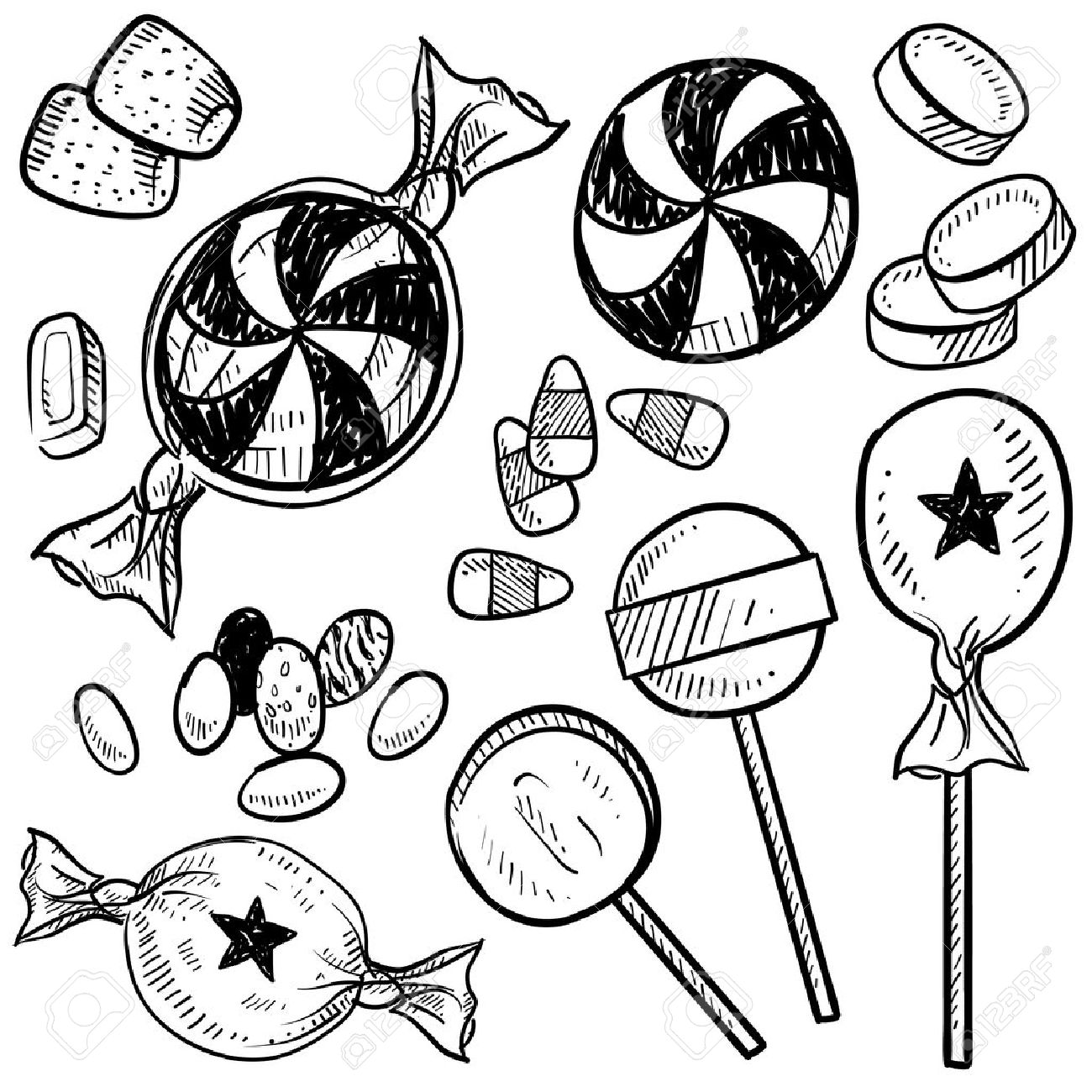 Doodle Style Hard Candy Set Sketch In Vector Format Includes ... for Clipart Lollipop Black And White  585ifm