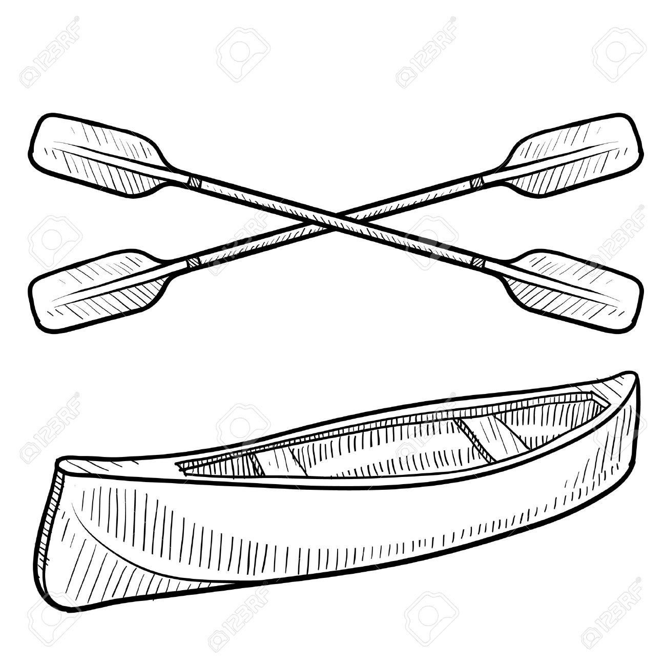 Doodle Style Canoe And Paddles Sketch In Vector Format Stock