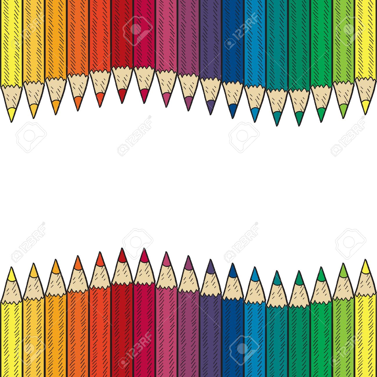 Doodle Style Seamless Colored Pencil Border Or Background Sketch