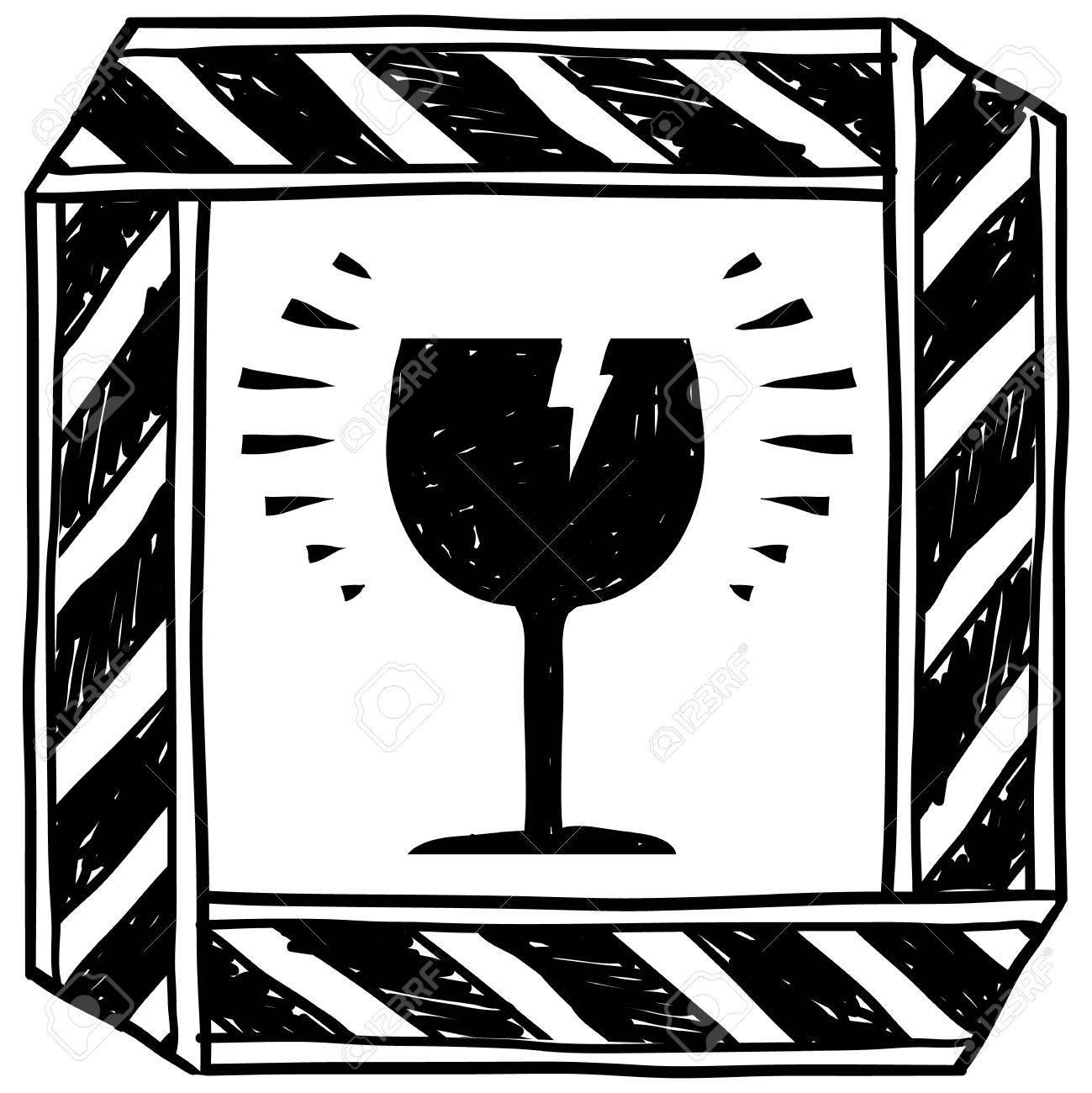 Doodle style danger of broken glass caution sign sketch in vector format Stock Vector - 14559354