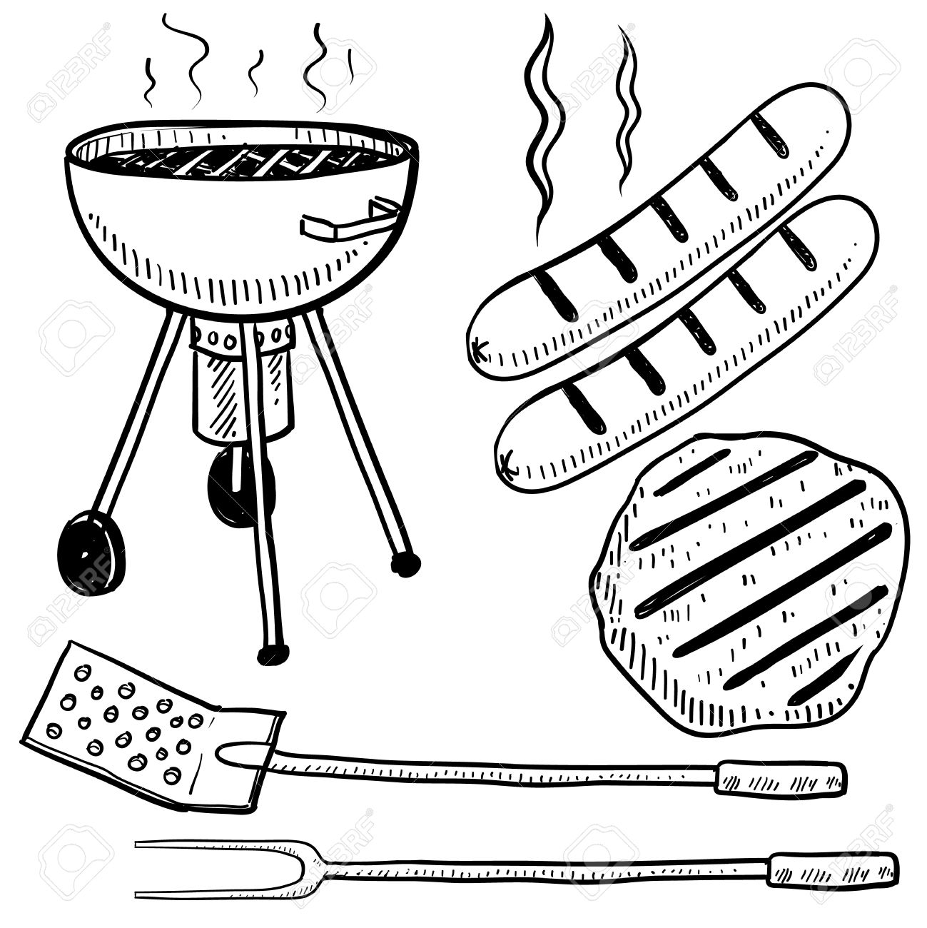 doodle style backyard cookout or grill gear in vector format