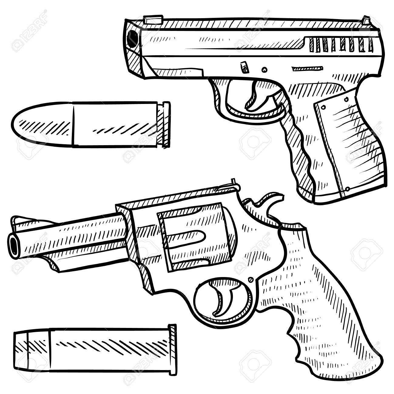 pistola de estilo doodle o dibujo que incluye un arma de fuego