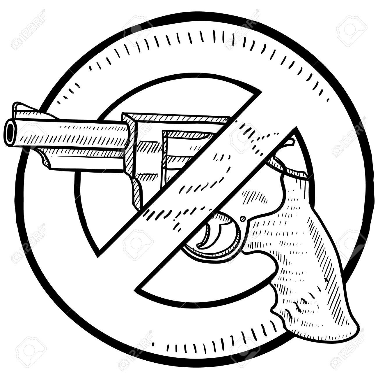 Doodle Prohibición De Arma De Fuego O Una Ilustración De Estilo De ...