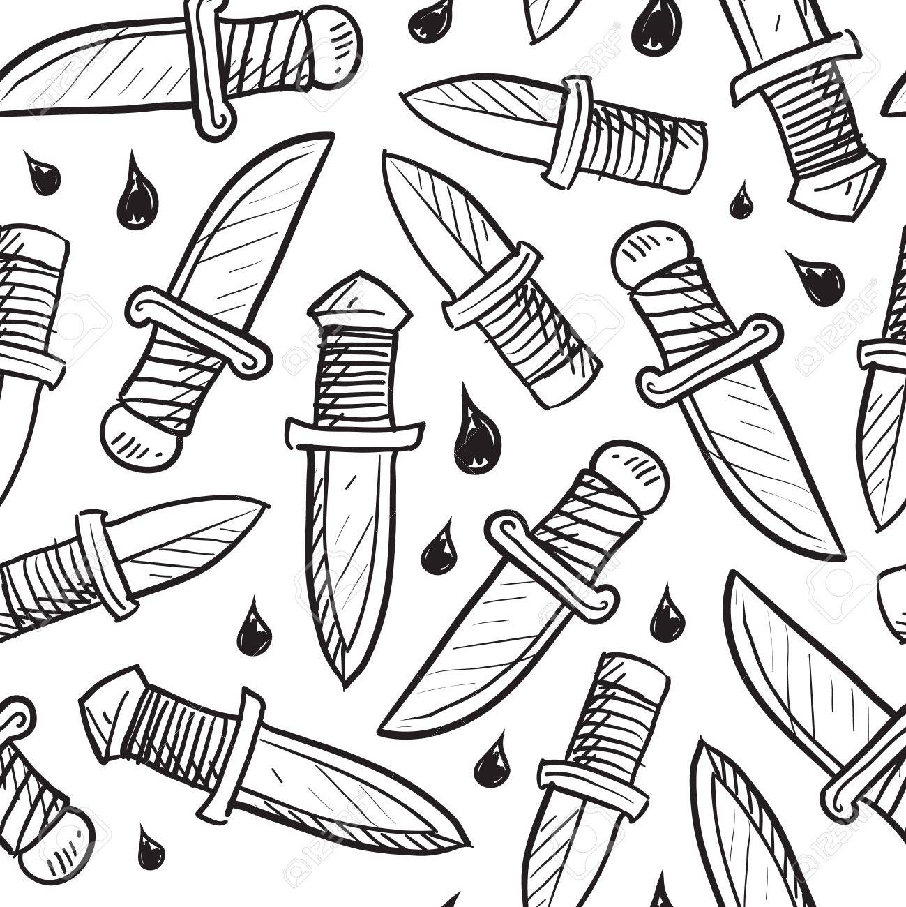 Doodle style knife background designed to be tiled  Vector format Stock Photo - 14559470