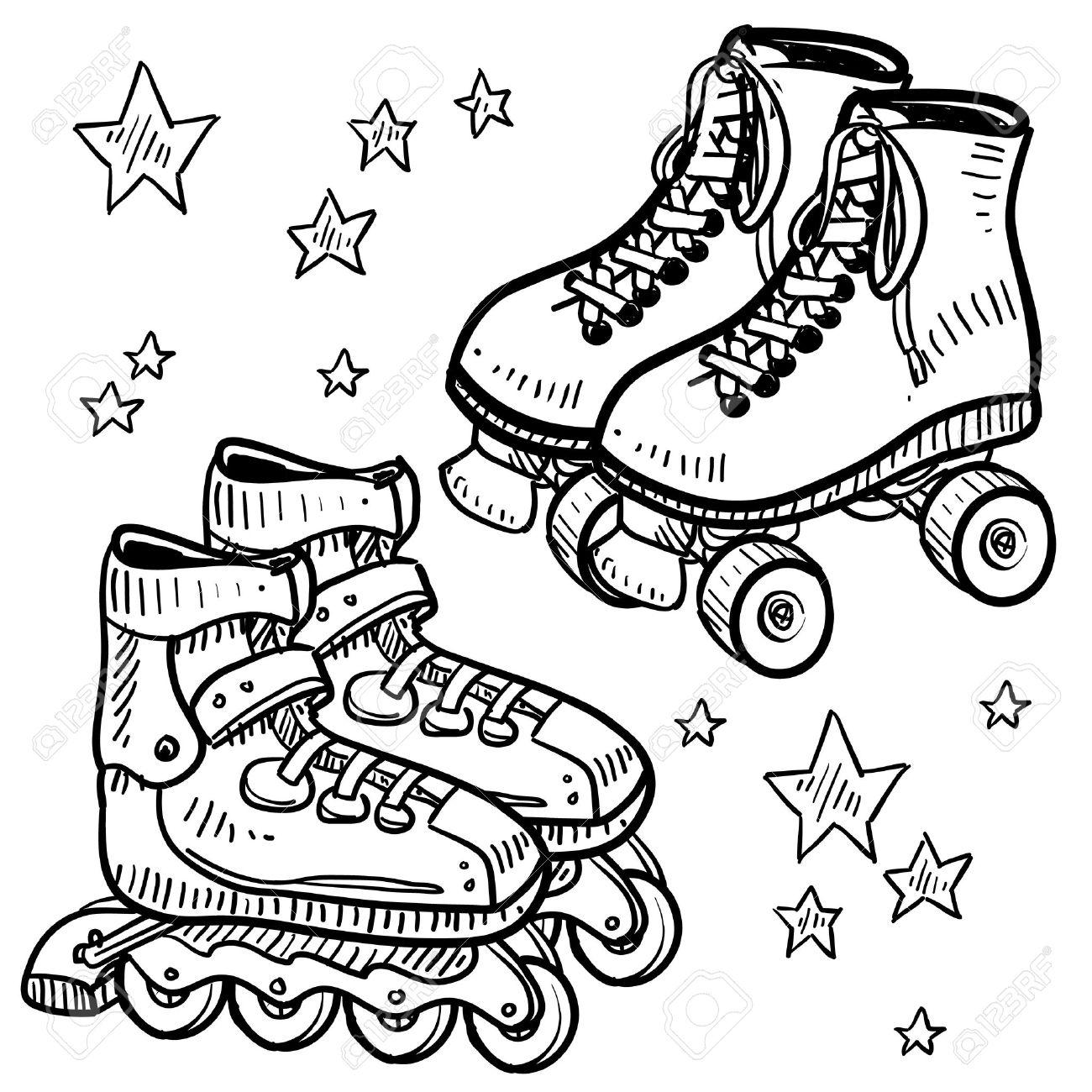 Roller skates book - Doodle Style Sketch Of Roller In Illustration Stock Vector 14590500