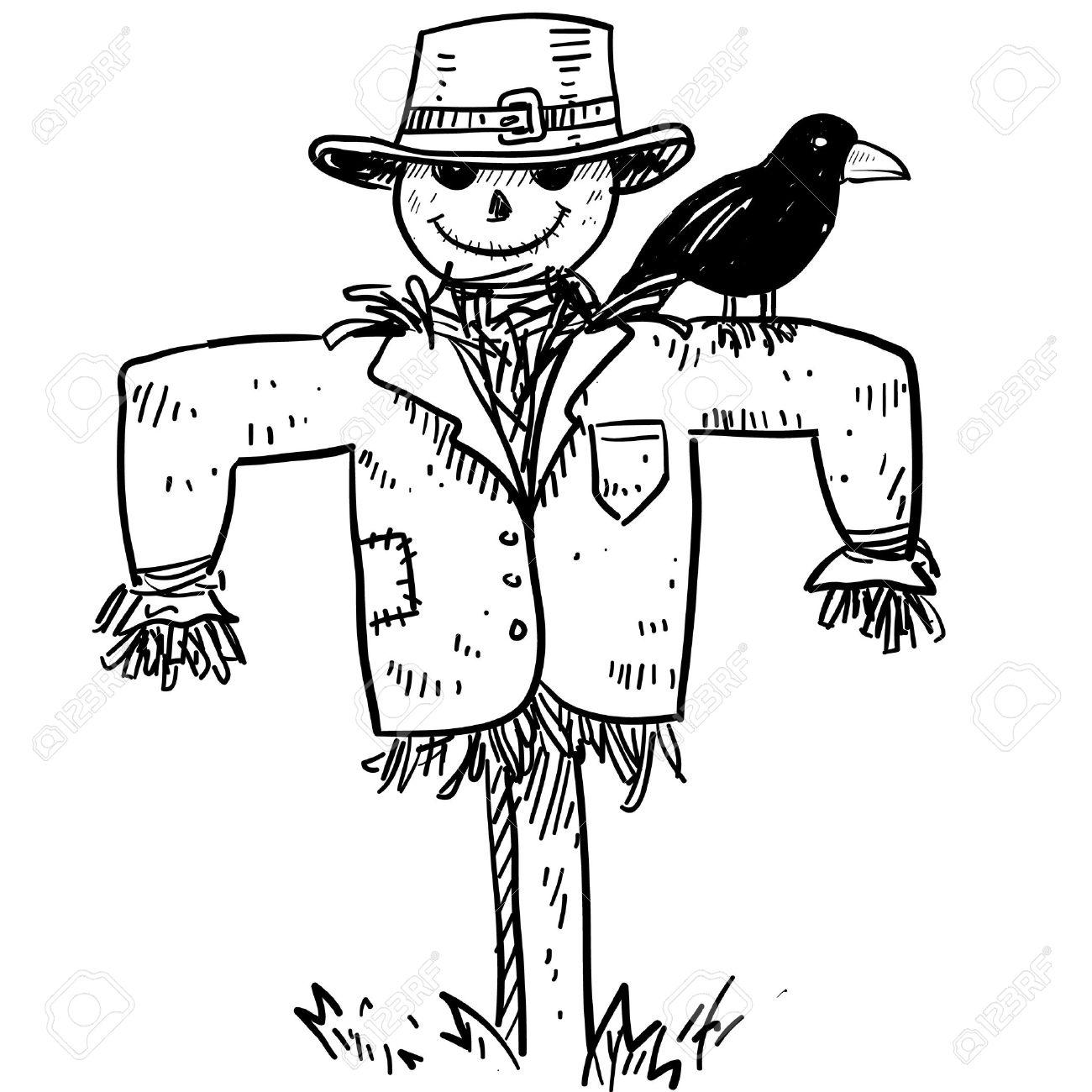 Boceto De Estilo Doodle De Un Espantapájaros Agrícola Con El Cuervo ...