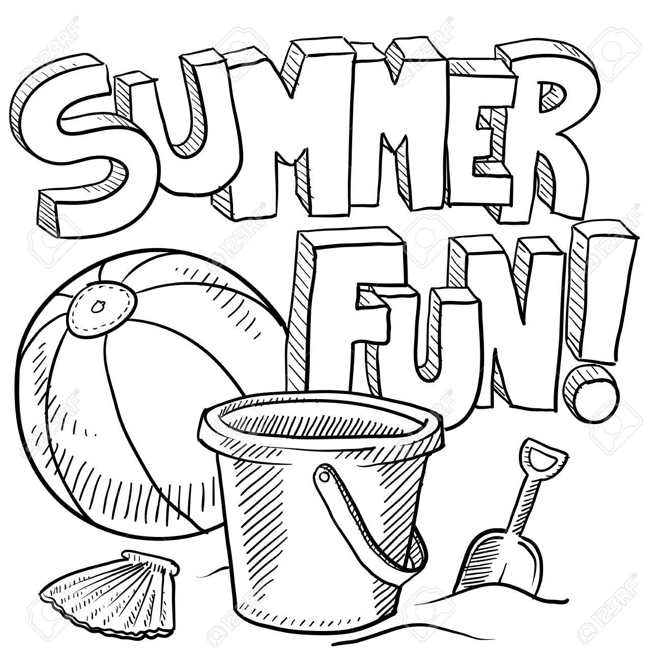 Disney coloring pages summer - Coloring Pictures Vacation Doodle Style Sketch Of Summer Fun Including Title Beach Ball And Sand