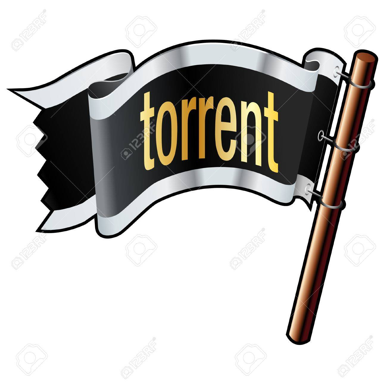 torrent file extension icon on black silver and gold vector rh 123rf com