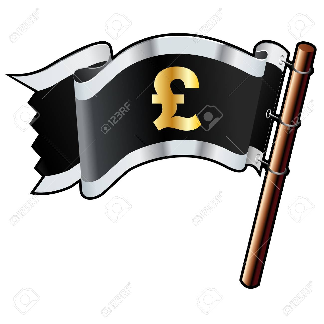 British Pound Currency Symbol On Black Silver And Gold Vector