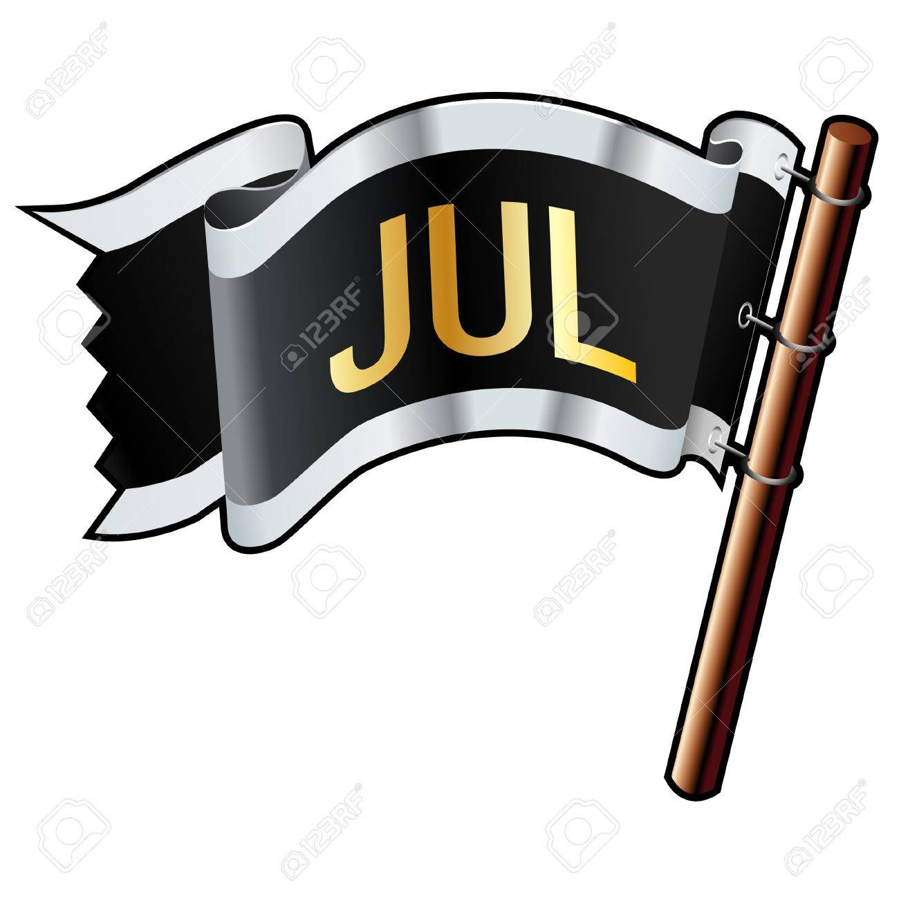 July calendar month icon on black, silver, and gold vector flag good for use on websites, in print, or on promotional materials Stock Vector - 14665745