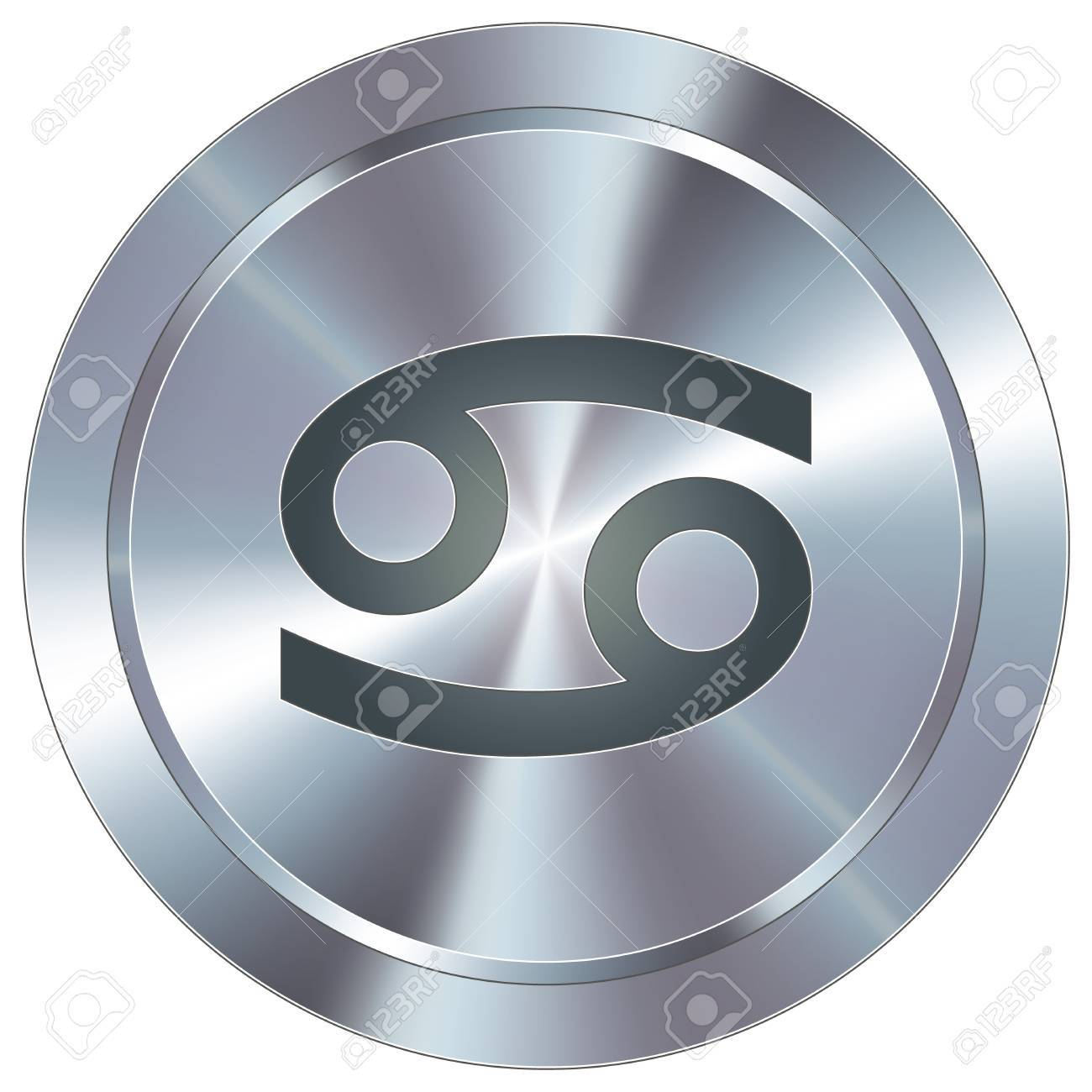 Cancer icon on round stainless steel modern industrial button Stock Vector - 14666081