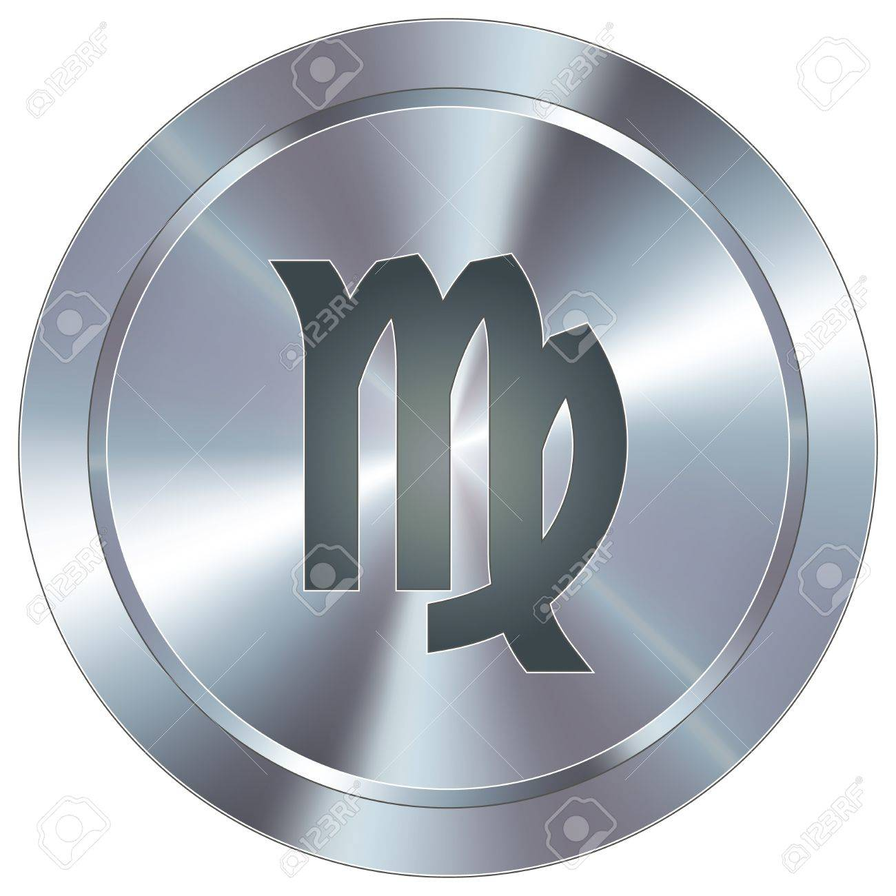 Virgo icon on round stainless steel modern industrial button Stock Vector - 14666076
