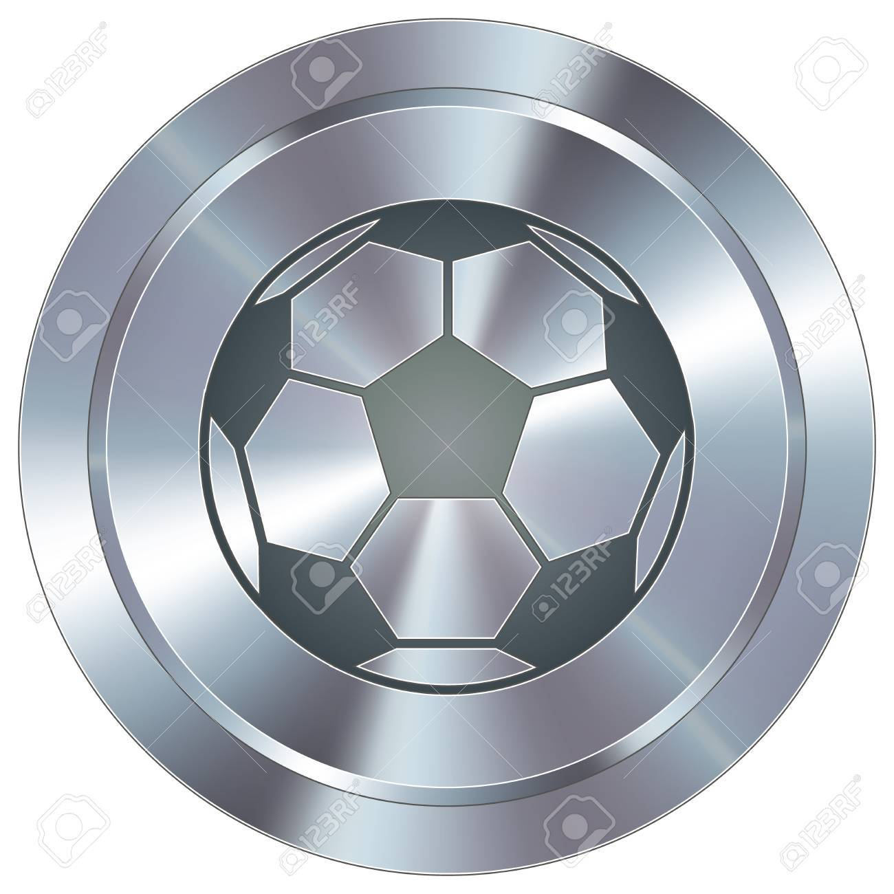 Soccer sport icon on round stainless steel modern industrial button - 14666129