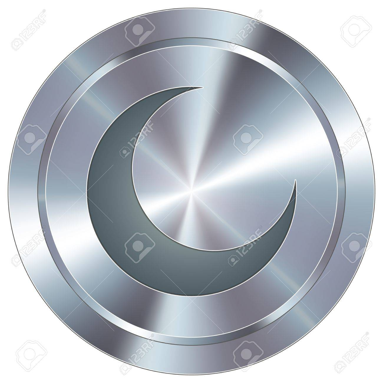 Crescent moon icon on round stainless steel modern industrial button Stock Vector - 14707729