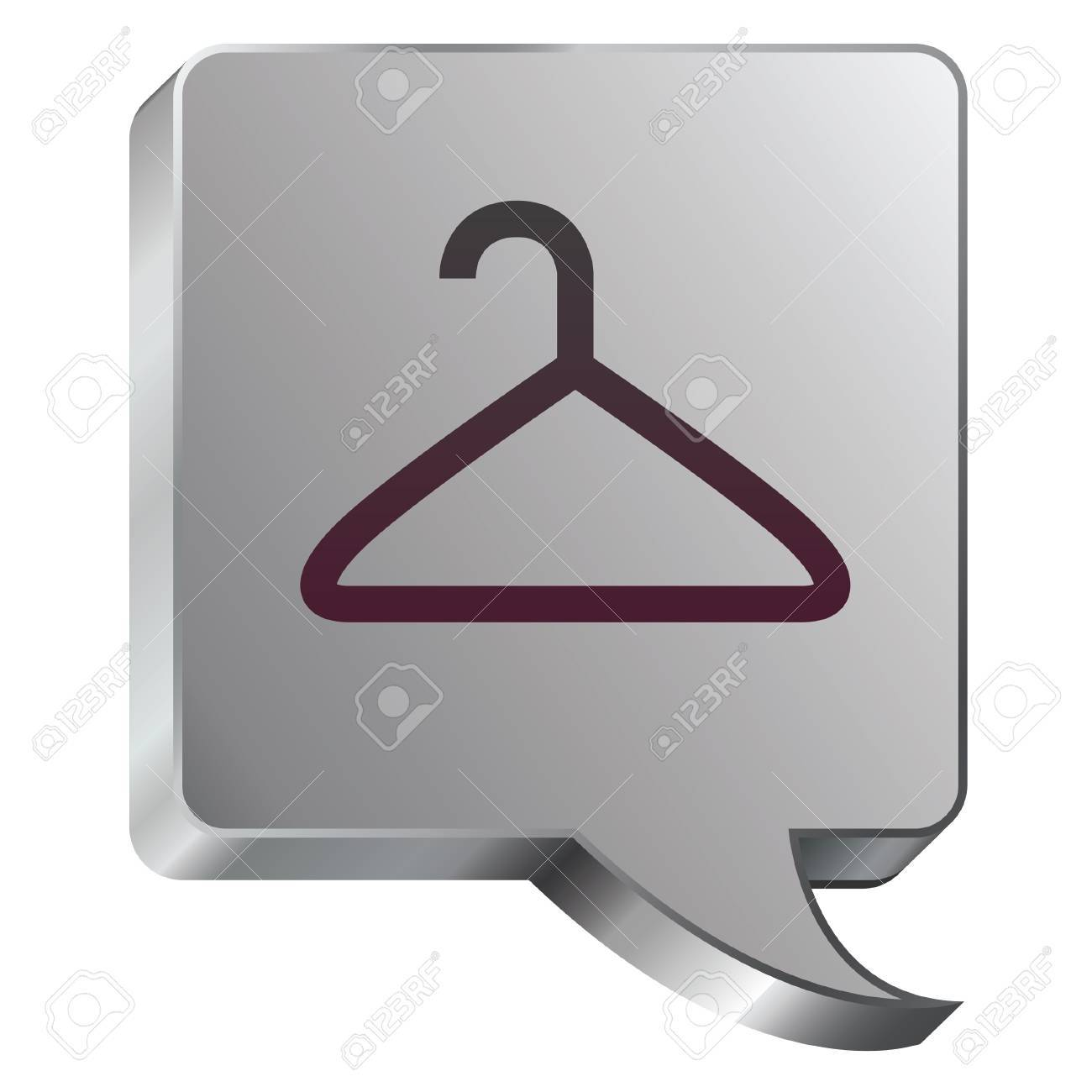 Coathanger icon on stainless steel modern industrial voice bubble icon suitable for use as a website accent, on promotional materials, or in advertisements Stock Vector - 14707928