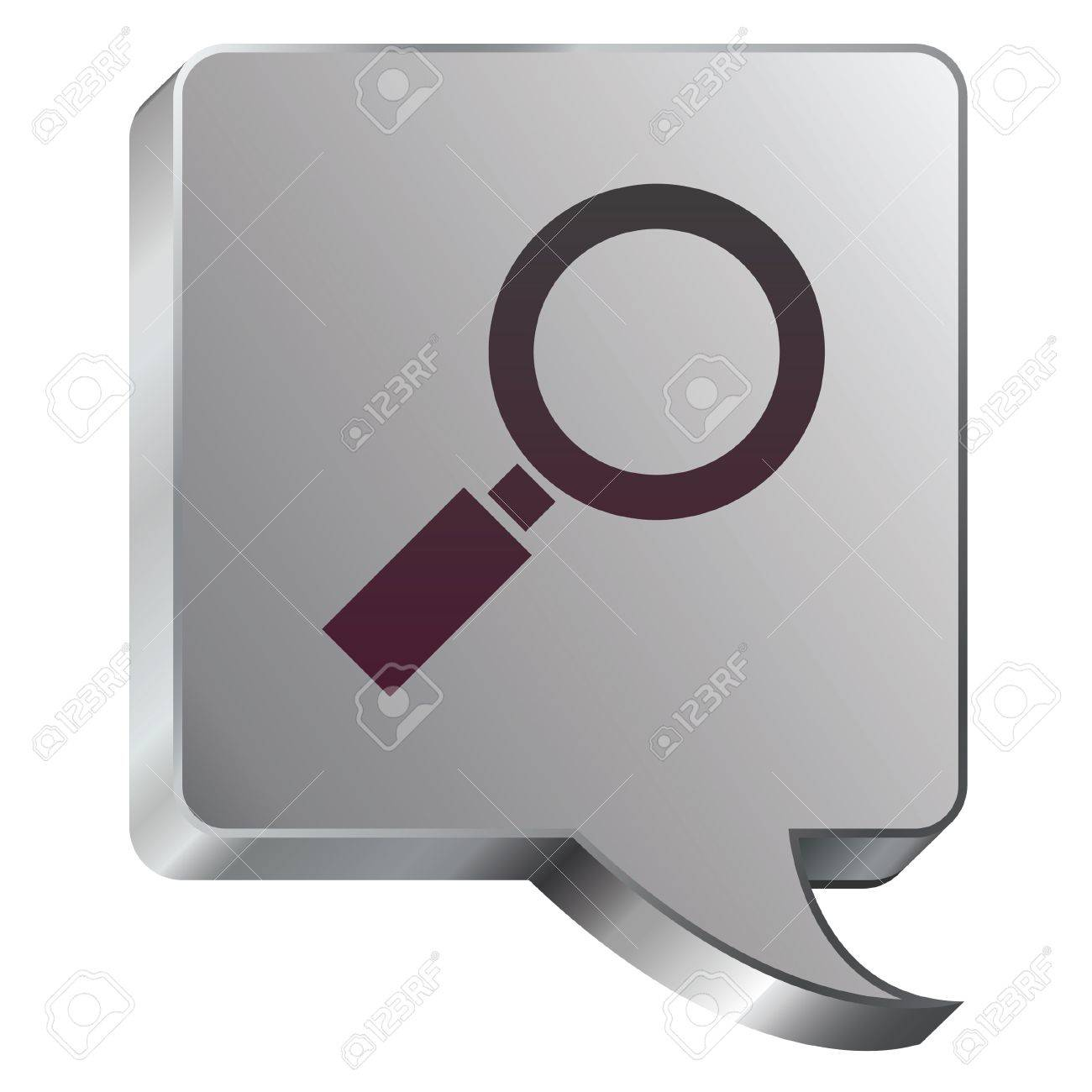 Magnifying glass or enlarge icon on stainless steel modern industrial voice bubble icon suitable for use as a website accent, on promotional materials, or in advertisements Stock Vector - 14707977