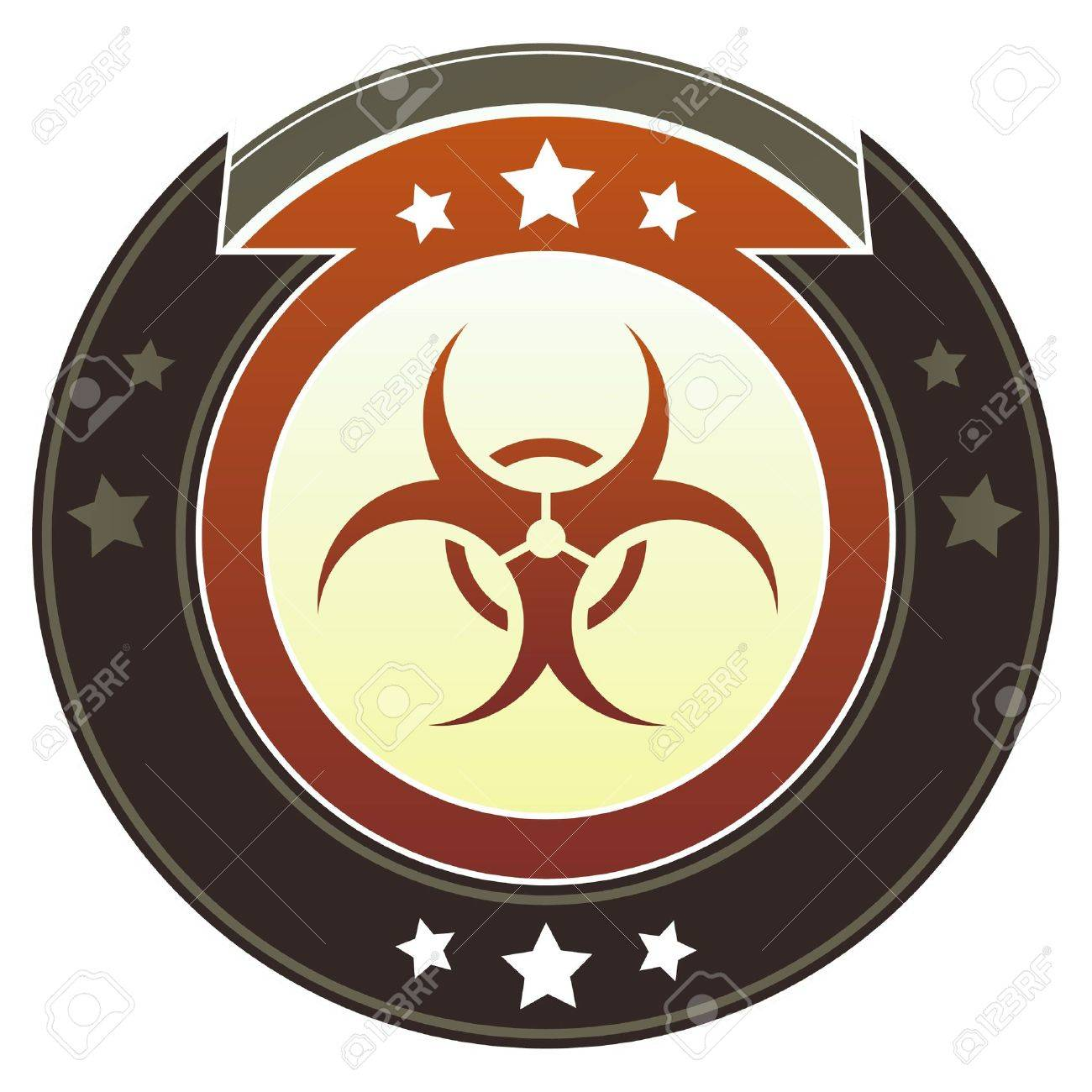 Biohazard warning icon on round red and brown imperial vector button with star accents suitable for use on website, in print and promotional materials, and for advertising Stock Vector - 14707402