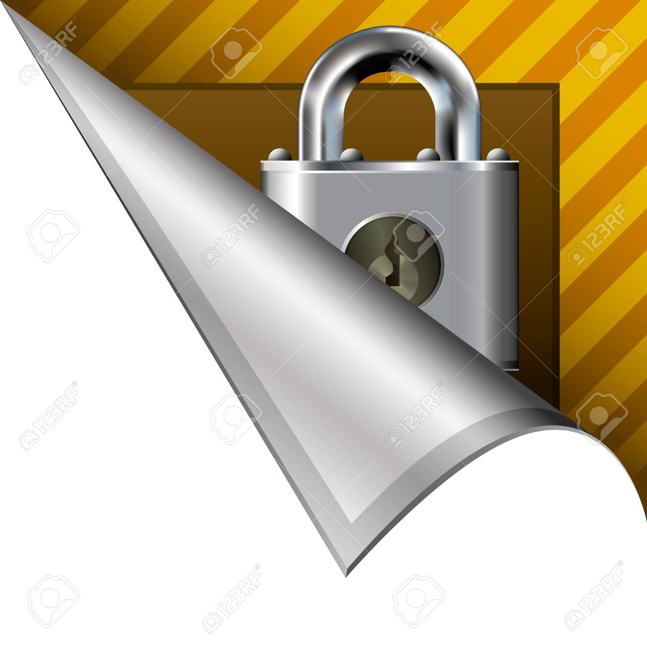 Secure or lock icon on vector peeled corner tab suitable for use in print, on websites, or in advertising materials Stock Photo - 14706856