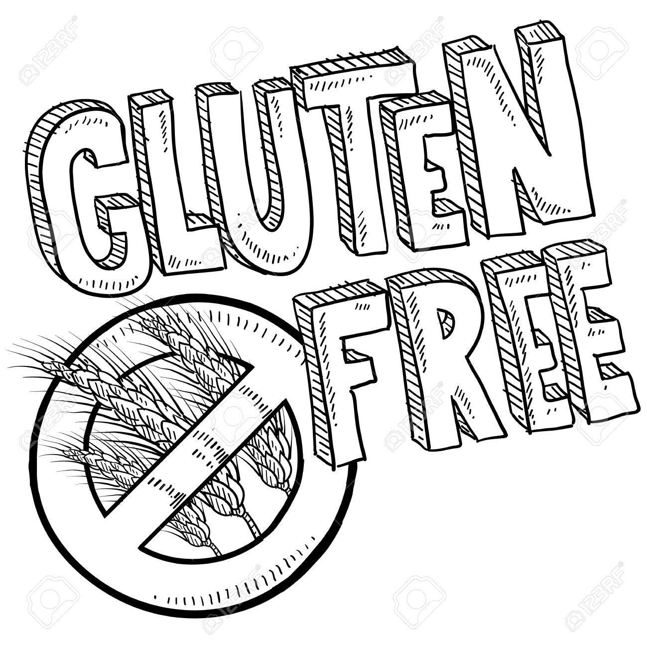 Doodle style illustration of a gluten free food or product label  Includes no wheat or grain symbol and lettering  Vector format Stock Photo - 15855980