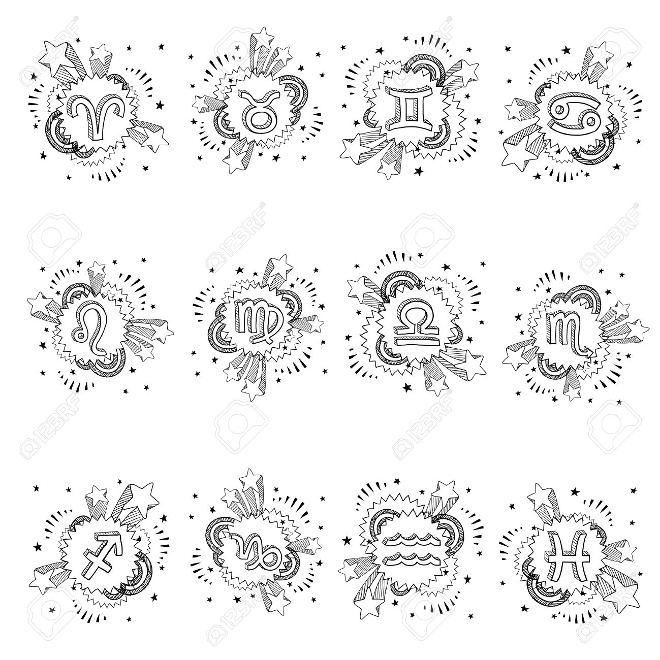 Doodle Style Pop Astrology Symbol Sketch Set Includes Cancer