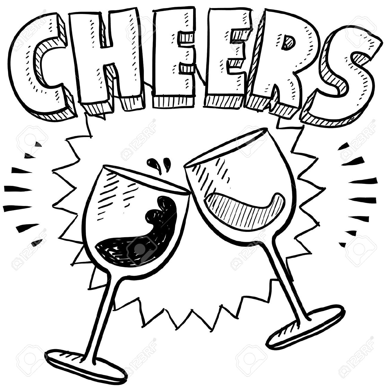 bd27c92784c Doodle style Cheers celebration illustration in vector format Includes text  and wine glasses Stock Illustration -