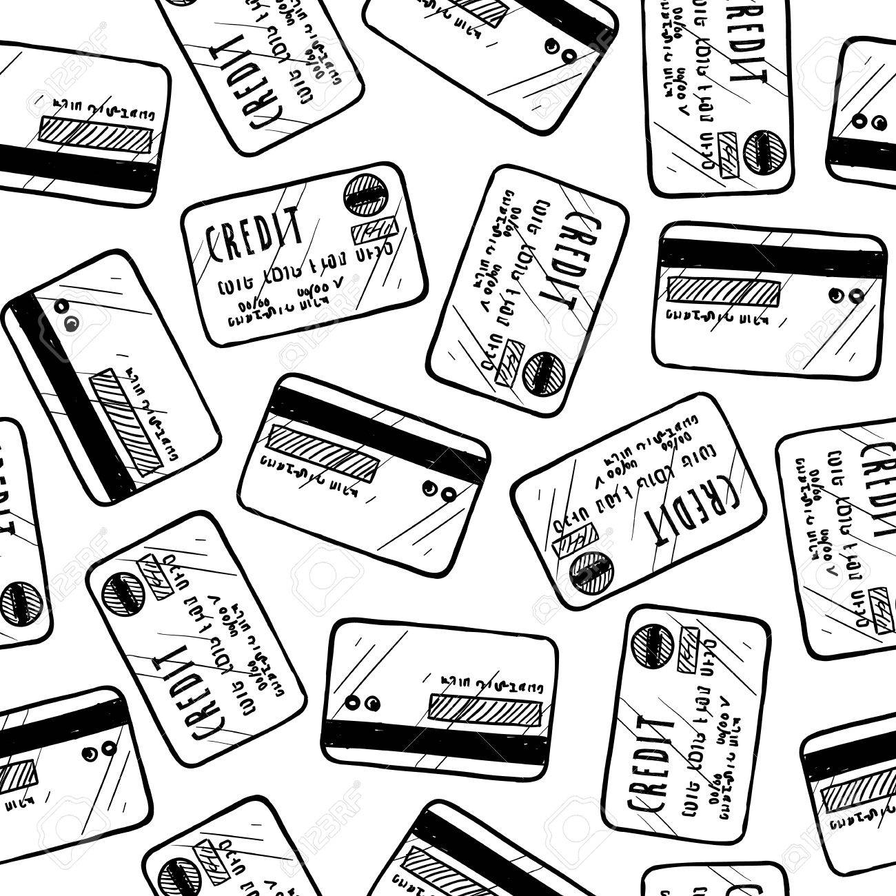 Doodle style credit card seamless vector background ready to be tiled Stock Photo - 18304216