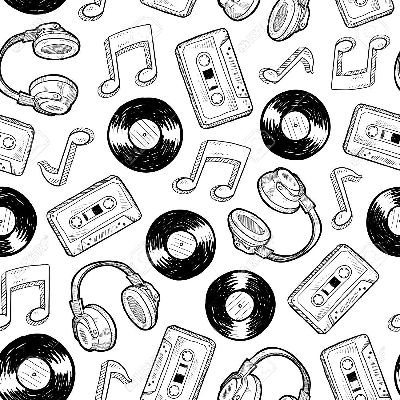 Doodle Medios Estilo De Música Sin Costura Incluye Discos De Vinilo