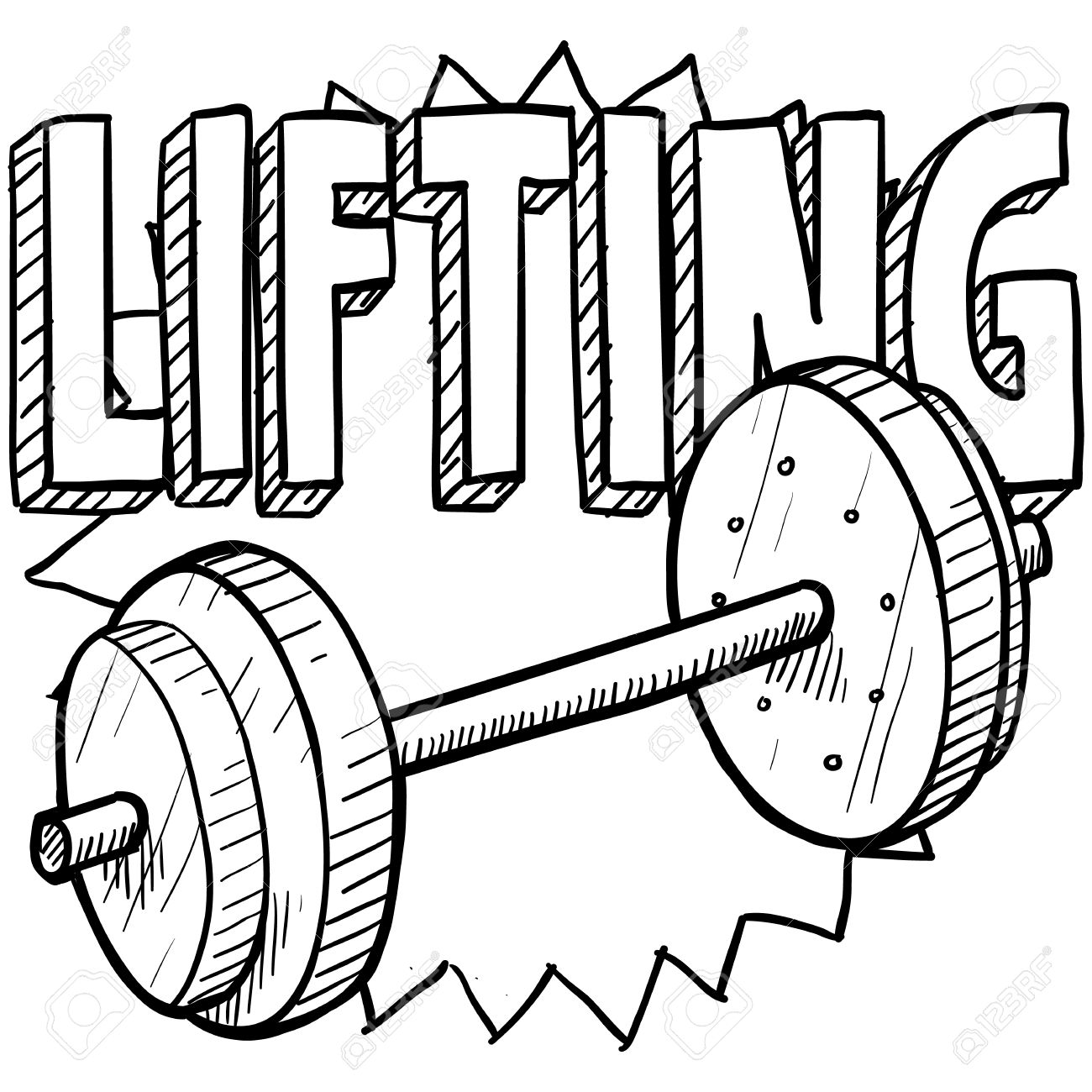 Doodle style weightlifting sports illustration  Includes text and barbells Stock Photo - 18476338