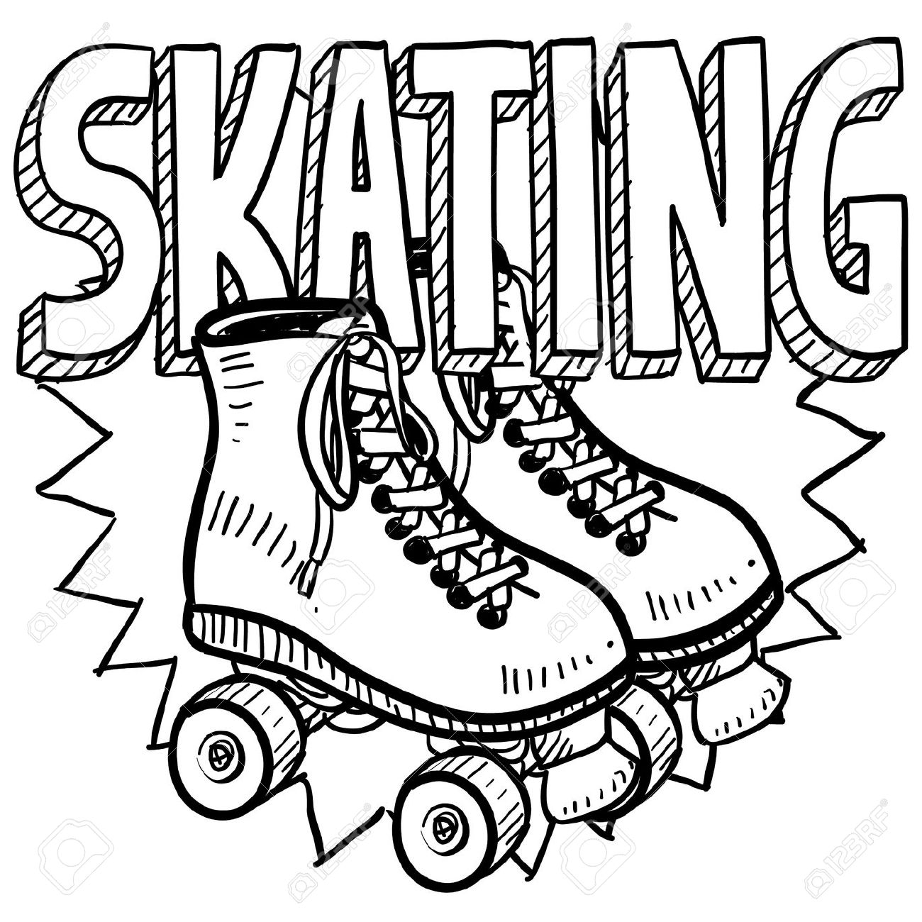 Free roller skating coloring pages - Roller Skating Doodle Style Roller Skating Illustration In Vector Format Includes Text And Skates