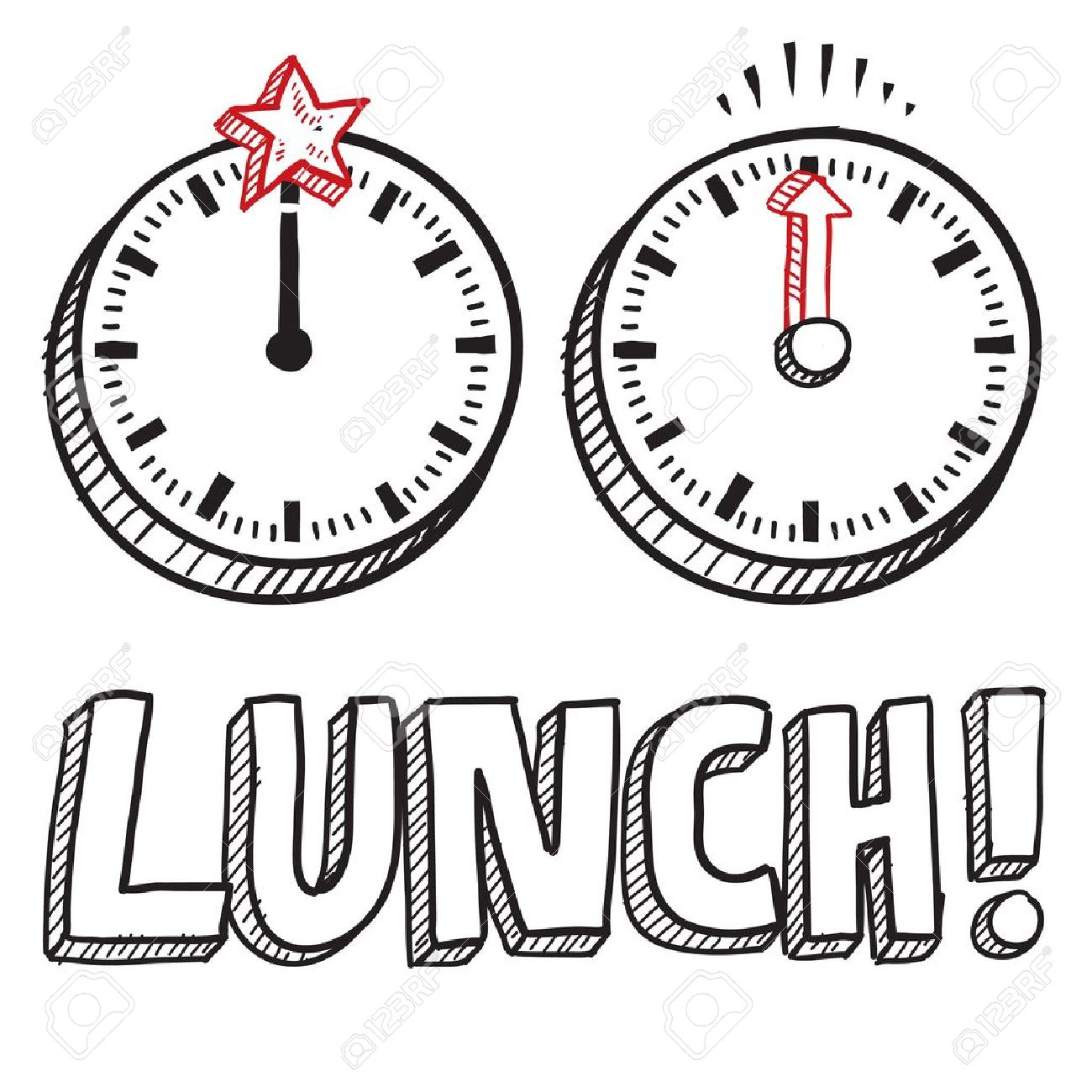 Doodle style lunch break illustration in vector format  Includes text and clocks indicating noon Stock Vector - 18476627