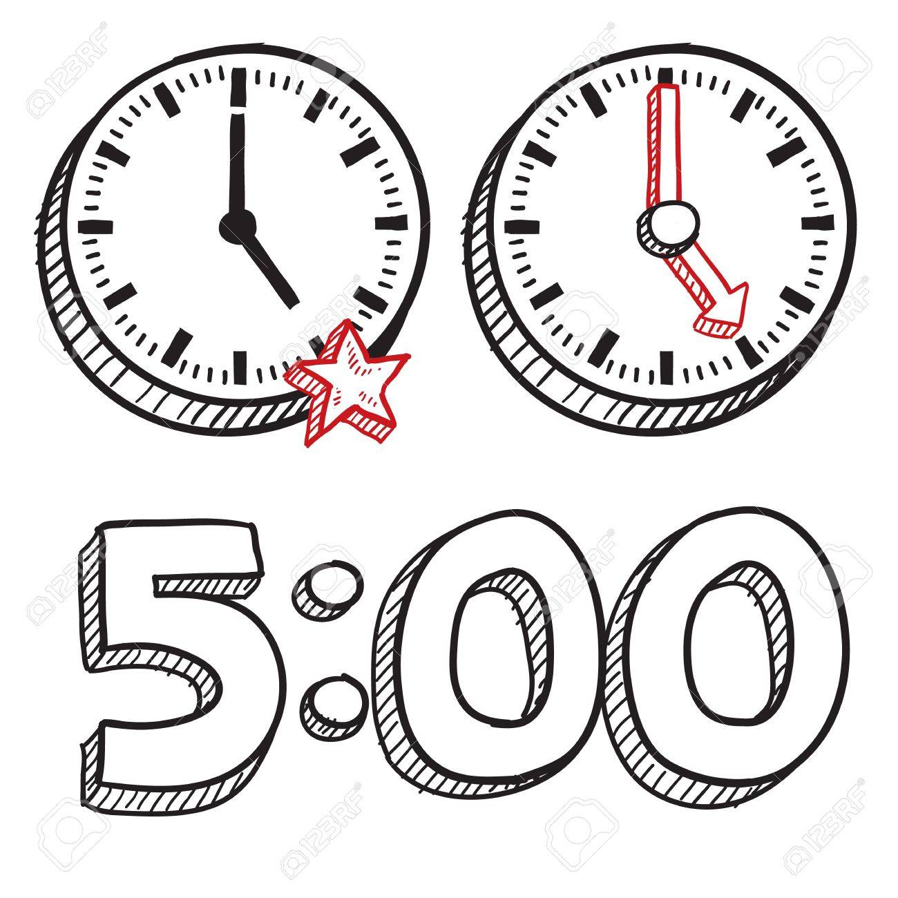 Doodle style 5 00 PM end of work day illustration in vector format  Includes text and clocks Stock Vector - 18476624