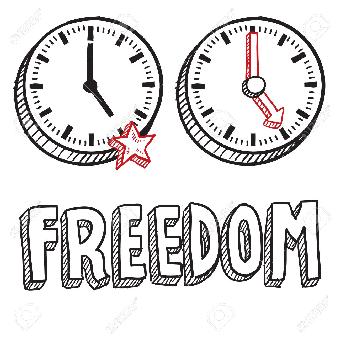 Doodle style freedom from work illustration in vector format  Includes text 5 00 PM clock showing end of work day Stock Vector - 18476623