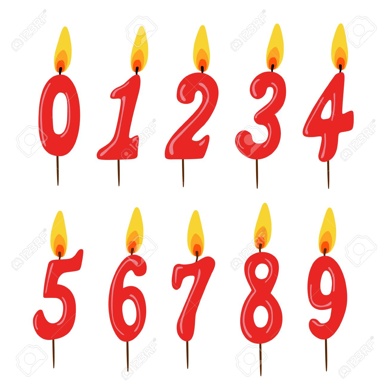 Set Of Red Birthday Candles Numbers Vector Illustration Stock