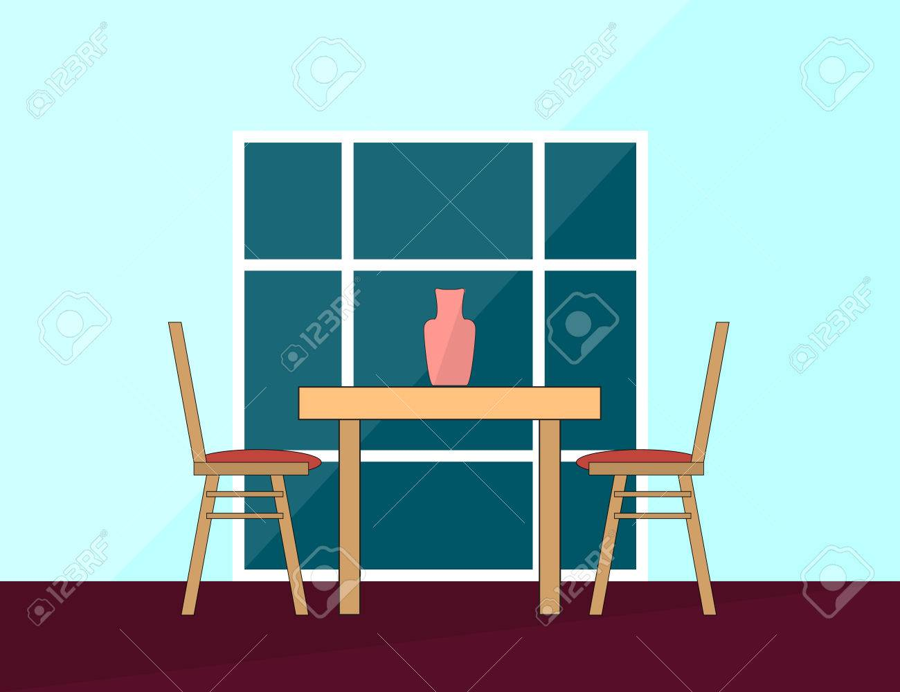 Dining Table And Chairs For Two People In Flat. Vector Illustration Stock