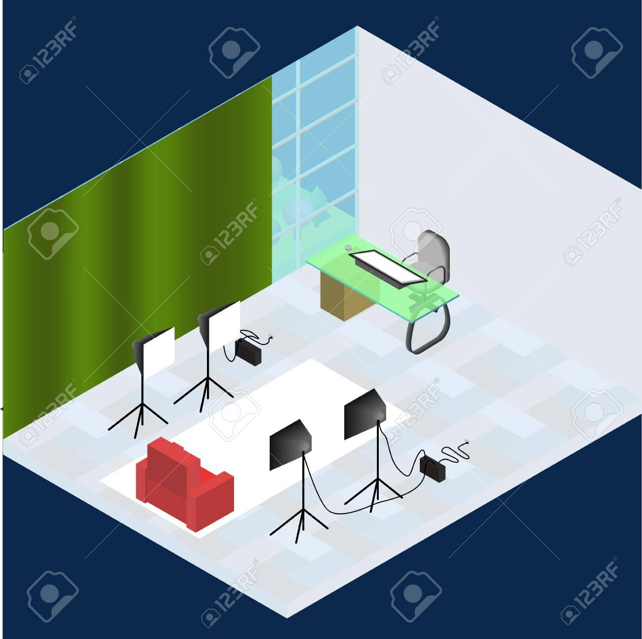Isometrisches Foto Studio Raum Innenraum Mit Arbeitsplatz, Ausrüstung,  Professionelle Beleuchtung Und Fotoaparat. 3D