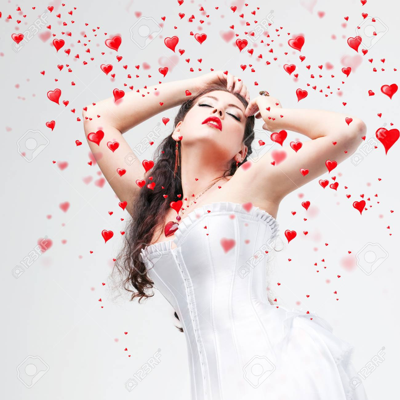 beautiful brunette and hearts Stock Photo - 8848330