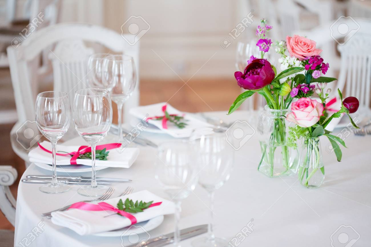 Wedding Banquet Small Restaurant Floral Decor In Red Informal Stock Photo Picture And Royalty Free Image Image 61922336